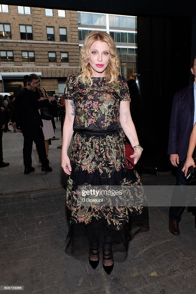 Courtney Love poses during New York Fashion Week: The Shows at Skylight at Moynihan Station on September 14, 2016 in New York City.