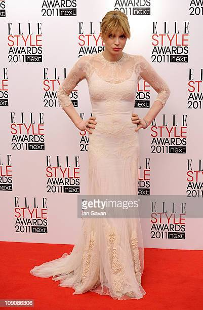 Courtney Love poses in the winners area at the 2011 ELLE Style Awards at the Grand Connaught Rooms on February 14 2011 in London England