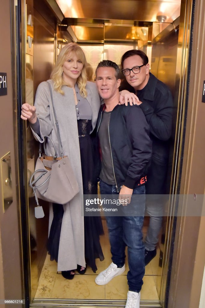 Courtney Love, Scott Lipps and Donovan Leitch attend Diesel Presents Scott Lipps Photography Exhibition 'Rocks Not Dead' at Sunset Tower on June 28, 2018 in Los Angeles, California.