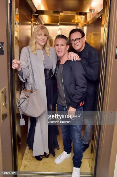 Courtney Love Scott Lipps and Donovan Leitch attend Diesel Presents Scott Lipps Photography Exhibition 'Rocks Not Dead' at Sunset Tower on June 28...