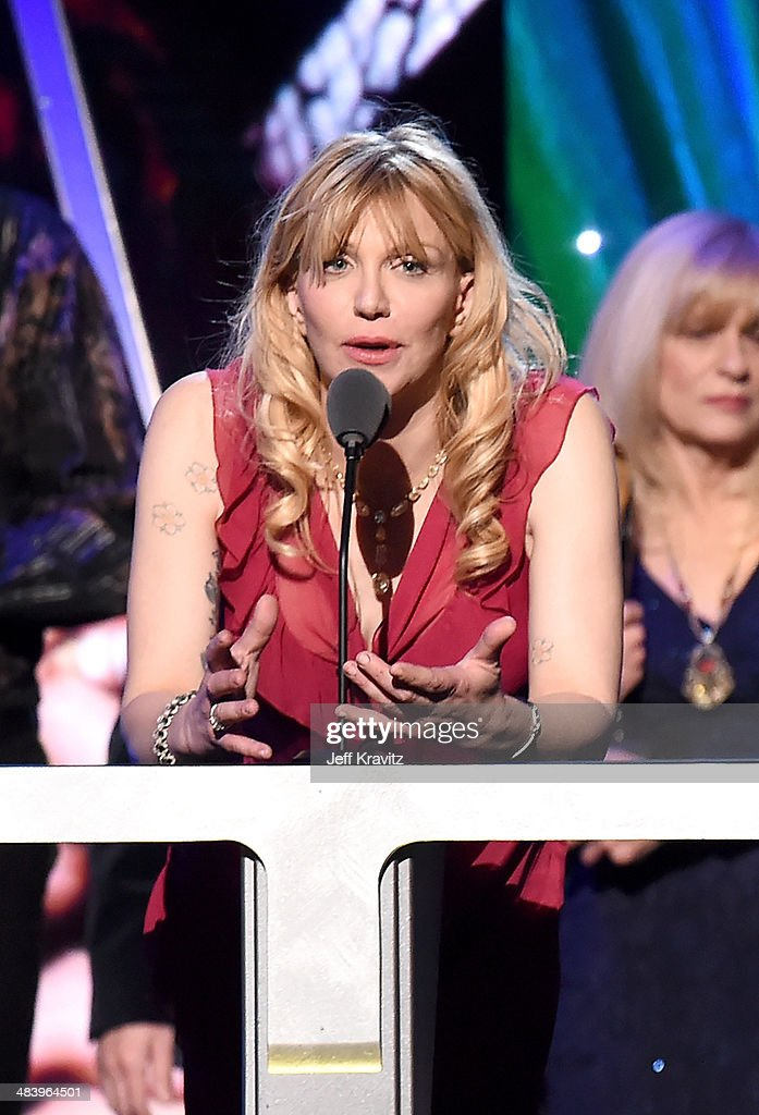 Courtney Love speaks onstage at the 29th Annual Rock And Roll Hall Of Fame Induction Ceremony at Barclays Center of Brooklyn on April 10, 2014 in New York City.