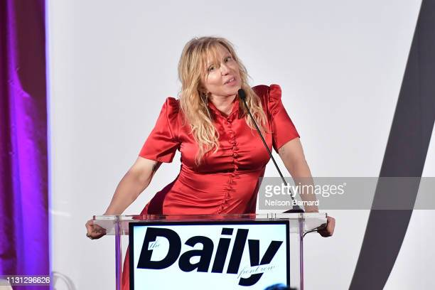 Courtney Love speaks onstage during The Daily Front Row Fashion LA Awards 2019 on March 17, 2019 in Los Angeles, California.