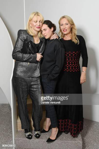 Courtney Love Tallulah OrmsbyGore and Diana WidmaierPicasso attend Mene 24 Karat Jewelry Presentation at Gagosian Gallery on January 23 2018 in Paris...