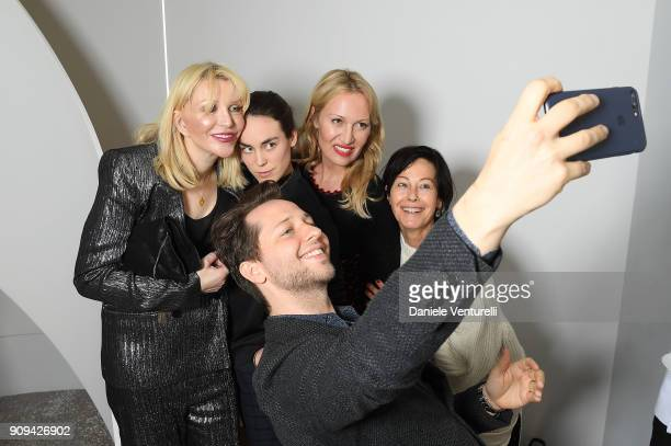 Courtney Love Tallulah OrmsbyGore Derek Blasberg Diana WidmaierPicasso and Amanda Harlech attend Mene 24 Karat Jewelry Presentation at Gagosian...