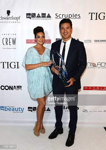 Courtney Mazza and Mario Lopez arrive at the 2013 North American Hairstyling Awards at Mandalay Bay on July 14 2013 in Las Vegas Nevada