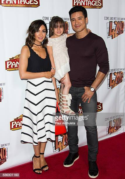 "Courtney Mazza, Gia Francesca Lopez and Mario Lopez attend the opening night of ""42nd Street"" at the Pantages Theatre on May 31, 2016 in Hollywood,..."