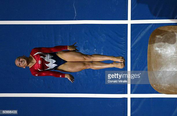 Courtney McCool competes in the Vault during the Women's AllAround Prelims 2004 Gymnastics Olympic Team Trials on June 25 2004 at The Arrowhead Pond...