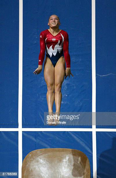Courtney McCool competes in the Vault during the Women's AllAround Prelims 2004 Gymnastics Olympic Team Trials at the Arrowhead Pond of Anaheim on...