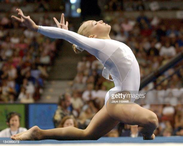Courtney McCool on floor exercise at the 2004 USA Gymnastics Olympic trials on June 25 2004 at Arrowhead pond in Anaheim California Gatson was...