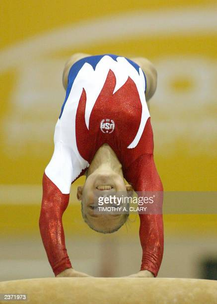 US Courtney McCool performs her silver medal routine on the vault during the Women's Artistic Gymnastics Individual Apparatus Finals at the Parque...