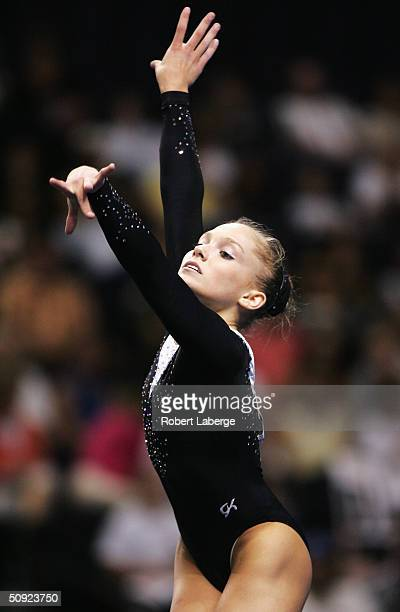 Courtney McCool performs on the floor excercise during the Senior Women Preliminaries and Event competition during the 2004 Visa U.S. Gymnastics...