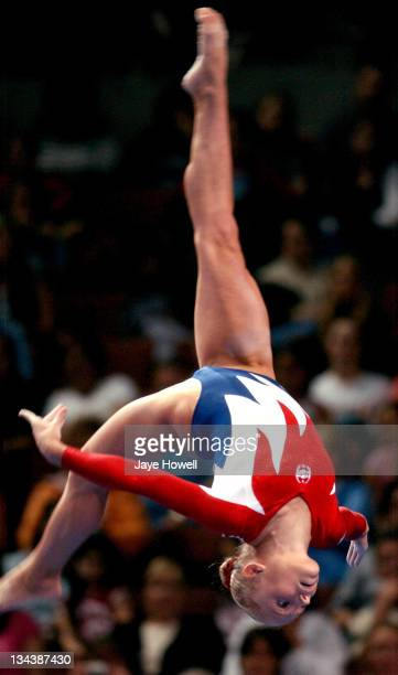 Courtney McCool spots the beam during her balance beam routine the USA Gymnastics Olympic trials at Arrowhead Pond in Anahiem, California on June 25,...