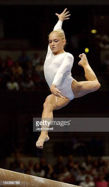 Courtney McCoolon beam at the 2004 USA Gymnastics Olympic trials on June 25 2004 at Arrowhead pond in Anaheim California Gatson was selected for the...