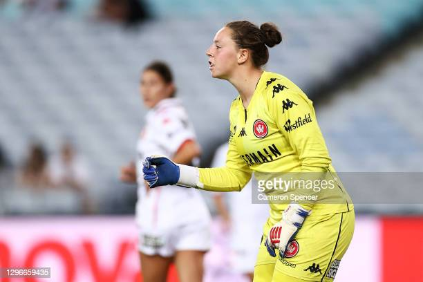 Courtney Newbon of the Wanderers signals to team mates during the round four W-League match between Sydney FC and the Western Sydney Wanderers at ANZ...