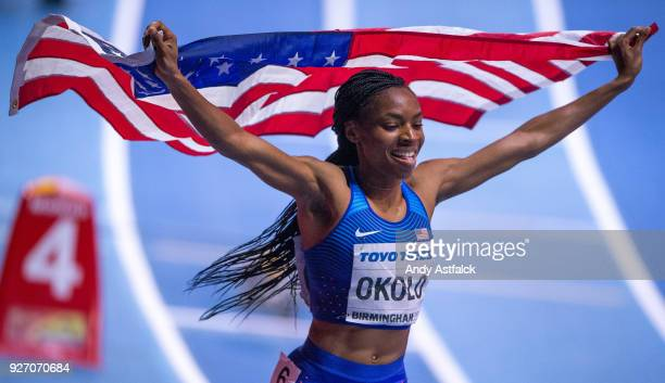 Courtney Okolo of the USA celebrates winning the Women's 400m Final on Day 3 of the IAAF World Indoor Championships at Arena Birmingham on March 3...