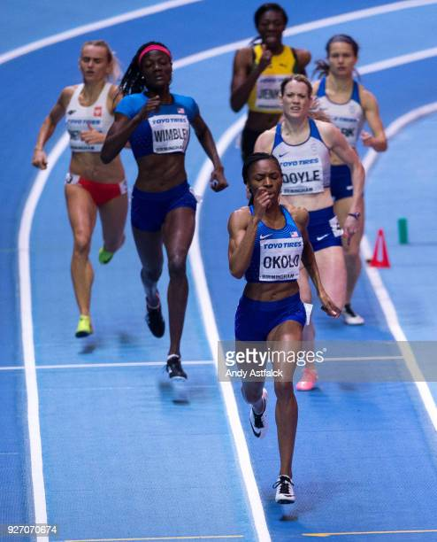 Courtney Okolo of the USA leading the Women's 400m Final followed by Shakima Wimbley of the USA and Eilidh Dole of Great Britain on Day 3 of the IAAF...