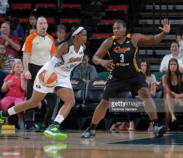 Courtney Paris of the Tulsa Shock defends against Camille Little of the Seattle Storm during the game on August 102014 at Key Arena in Seattle...