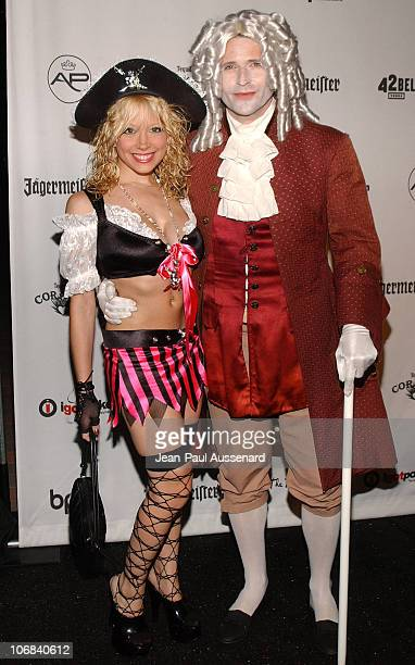 Courtney Peldon and Crispin Glover during AirParty Hosts a Celebrity Hollywood Bash to Benefit The Trevor Project - Arrivals at Henson Studios in...