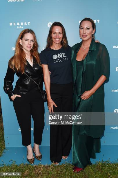 Courtney Plummer Anne de Carbuccia and Alexandra Meyers attend One Ocean at Venice Film Festival on September 4 2018 in Venice Italy