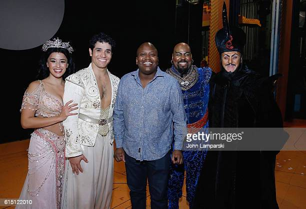 Courtney Reed Adam Jacobs Titus Burgess James Monroe Iglehart and Jonathan Freeman pose during 'Aladdin' on Broadway at New Amsterdam Theatre on...