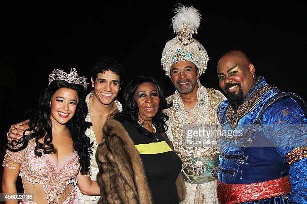 Courtney Reed as 'Jasmine' Adam Jacobs as 'Aladdin' Aretha Franklin Clifton Davis as 'The Sultan' and James Monroe Iglehart as 'The Genie' pose...