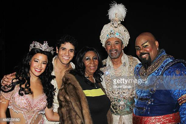 Courtney Reed as Jasmine Adam Jacobs as Aladdin Aretha Franklin Clifton Davis as The Sultan and James Monroe Iglehart as The Genie pose backstage at...