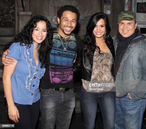 Courtney Reed Corbin Bleu Demi Lovato and Eliseo Roman pose backstage after a performance of In The Heights on Broadway at Richard Rodgers Theatre on...