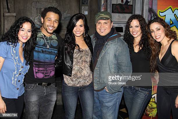 Courtney Reed Corbin Bleu Demi Lovato Eliseo Roman Nina Lafarga and Allison Thomas Lee pose backstage after a performance of In The Heights on...