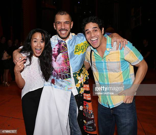 Courtney Reed Dennis Stowe and Adam Jacobs attend the Broadway Opening Night Performance AEA Gypsy Robe Ceremony honoring Dennis Stowe for 'Aladdin'...