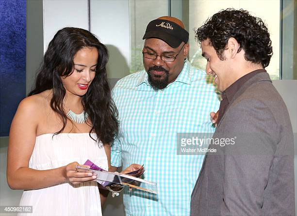 Courtney Reed James Monroe Iglehart and Adam Jacobs attend the 'Aladdin' Broadway Cast CD Signing at Barnes Noble Citigroup Center on June 20 2014 in...