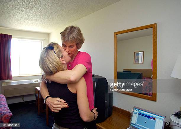 MARCIBOWERSTRINIDAD COLORADO JUNE 6 2007 Courtney Ridley right kisses her partner Lisa Kuester <cq> after Ridley met briefly with Dr Marci Bowers the...