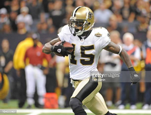 Courtney Roby of the New Orleans Saints caries the ball during an NFL game against the Minnesota Vikings at Louisiana Superdome on September 9 2010...
