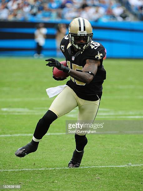 Courtney Roby of the New Orleans Saints runs with a catch against the Carolina Panthers at Bank of America Stadium on September 16 2012 in Charlotte...