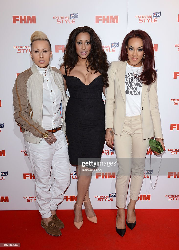 Courtney Rumbold, Alexandra Buggs and Karis Anderson of Stooshe arrive for the FHM 100 Sexiest Women in the World 2013 Launch Party held at the Sanderson Hotel on May 1, 2013 in London, England.