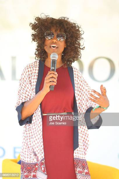 Courtney Seard speaks onstage during the KALEIDOSCOPE LAWN TALKS presented by Delta Air Lines Cannabinoid Water on April 13 2017 in La Quinta...