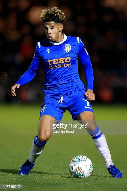 Courtney Senior of Colchester United during the Carabao Cup Third Round match between Colchester United and Tottenham Hotspur at JobServe Community...