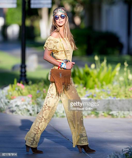 Courtney Sixx heads to the Coachella Festival on April 16 2016 in Indio California