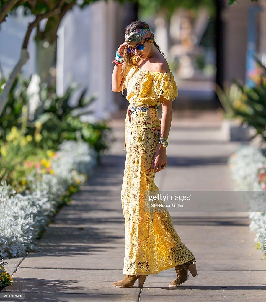 Courtney Sixx heads to the Coachella Festival on April 16, 2016 in Indio, California.