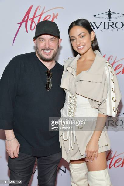 """Courtney Solomon and Inanna Sarkis attend the premiere of Aviron Pictures' """"After"""" at The Grove on April 08, 2019 in Los Angeles, California."""