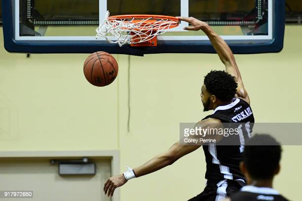 Courtney Stockard of the St Bonaventure Bonnies dunks against the La Salle Explorers during the second half at Tom Gola Arena on February 13 2018 in...