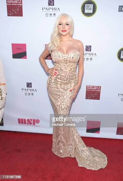 Courtney Stodden attends the 4th annual Roger Neal Oscar Viewing Dinner Icon Awards and after party at Hollywood Palladium on February 24, 2019 in...