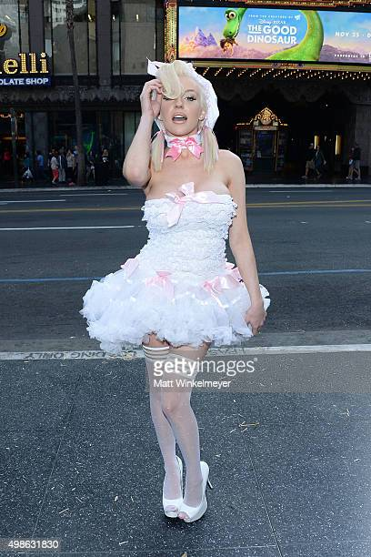 Courtney Stodden protests for PETA's Save The Sheep campaign at Hollywood And Highland Center on November 24 2015 in Los Angeles California