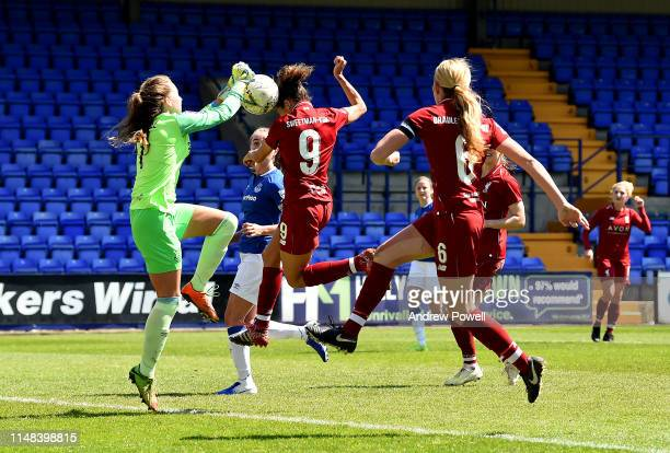 Courtney Sweetman-Kirk of Liverpool Women scoring the opening goal during the WSL match between Liverpool Women and Everton Ladies at Prenton Park on...
