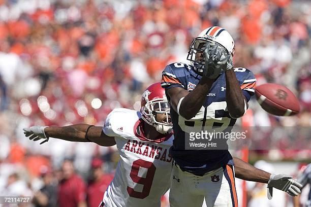 Courtney Taylor of the Auburn Tigers drops a pass against the Arkansas Razorbacks at Jordan-Hare Stadium on October 7, 2006 in Auburn, Alabama. The...