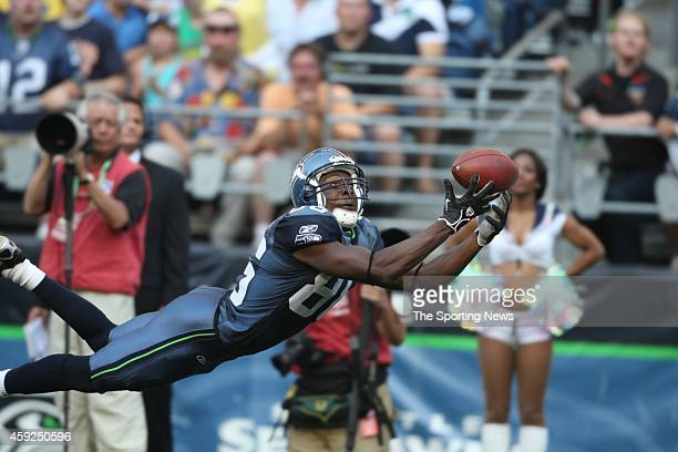 Courtney Taylor of the Seattle Seahawks makes a catch during a game against the Chicago Bears on August 16, 2008 at Qwest Field in Seattle,...