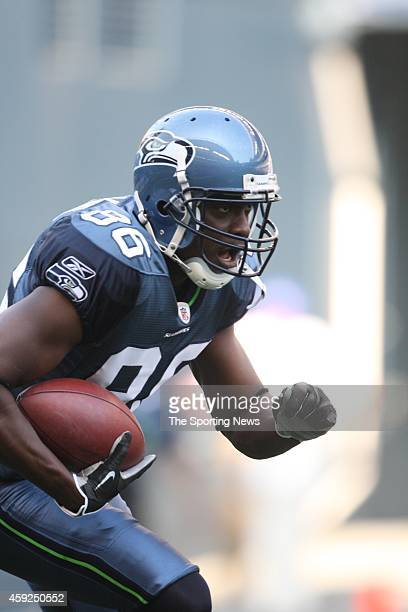 Courtney Taylor of the Seattle Seahawks runs with the ball during warm-ups before a game against the Chicago Bears on August 16, 2008 at Qwest Field...