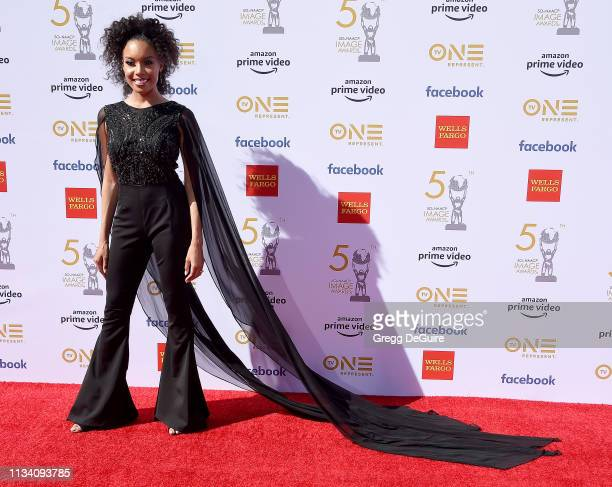 Courtney Tezeno arrives at the 50th NAACP Image Awards at Dolby Theatre on March 30 2019 in Hollywood California