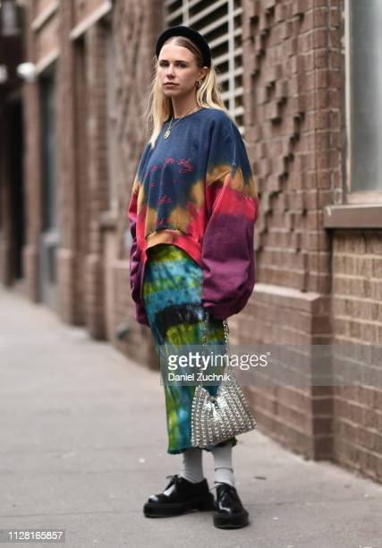 Courtney Trop is seen wearing a Collina Strada outfit outside the Collina Strada show during New York Fashion Week: Women's Fall/Winter 2019 on...
