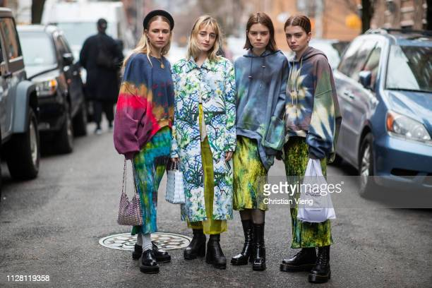 Courtney Trop Reese Blutstein Molly Blutstein seen outside Collina Strada during New York Fashion Week Autumn Winter 2019 on February 07 2019 in New...