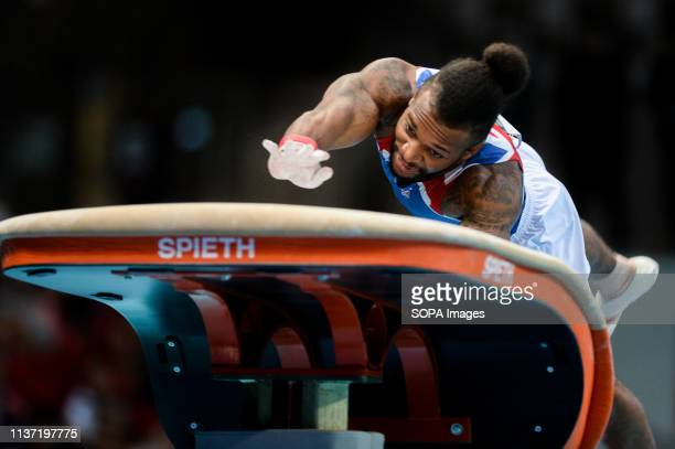 Courtney Tulloch from Great Britain seen in action during the Apparatus Finals of 8th European Championships in Artistic Gymnastics